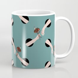 In Love - hands with flowers - GREEN #pattern Coffee Mug