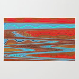 Abstract Retro Lava Water Deep Earth Landscape Rug