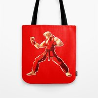 street fighter Tote Bags featuring Street Fighter II - Ken by Carlo Spaziani