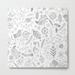 White Christmas Doodles Metal Print