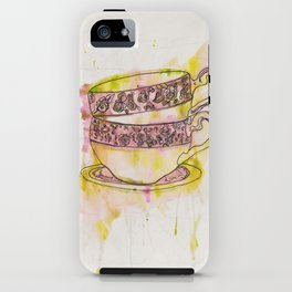 Watercolour Vintage Teacups iPhone Case