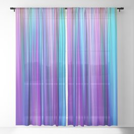 Abstract Purple and Teal Gradient Stripes Pattern Sheer Curtain