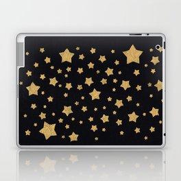 Gold Stars on BLack Laptop & iPad Skin
