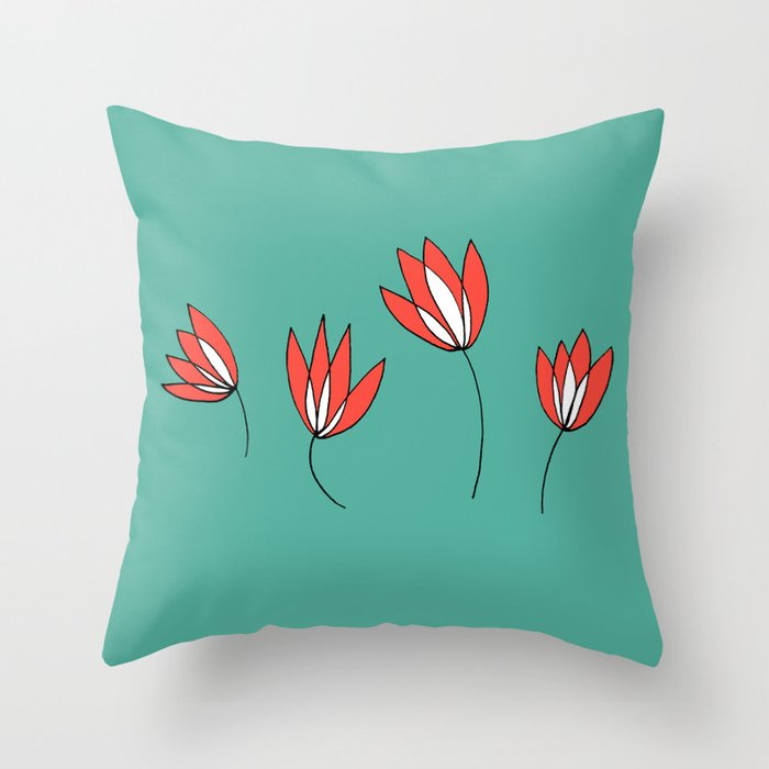 Whimsical Red and Teal Flowers by Emma Freeman Designs Throw Pillow