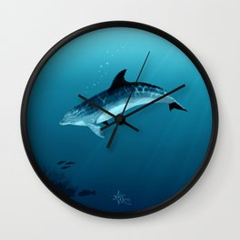"""Blackfin the Dolphin"" by Amber Marine ~ Digital Art, (Copyright 2014) Wall Clock"