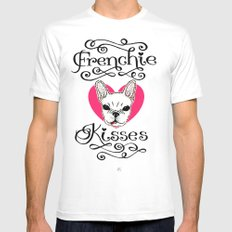 Frenchie Kisses SMALL White Mens Fitted Tee