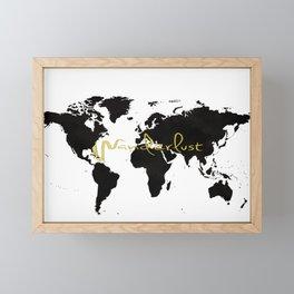 Black World Map Framed Mini Art Print
