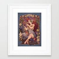 nouveau Framed Art Prints featuring Gamer girl Nouveau by Medusa Dollmaker
