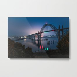 Newport, Oregon / Harbor Bridge At Night  8-18-18  Metal Print
