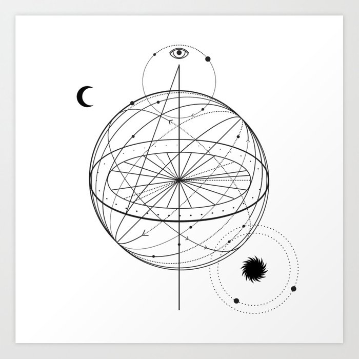 Alchemy Symbol With Eye Moon Sun Art Print By Tukkki Society6