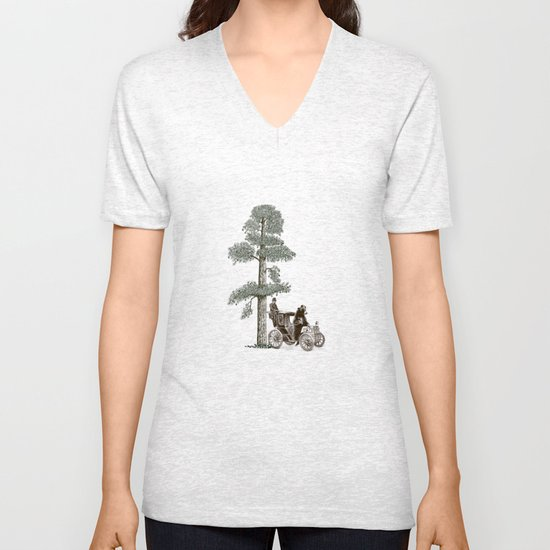 Two Gentlemen in the Forest Unisex V-Neck
