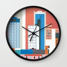 Phoenix, Arizona - Skyline Illustration by Loose Petals Wall Clock