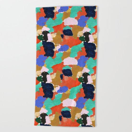 Kara - paint palette abstract minimal modern art bright colorful boho urban painting college dorm Beach Towel