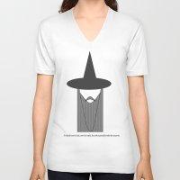 gandalf V-neck T-shirts featuring Gandalf Minimalist by Joe ettling