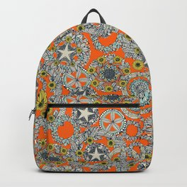 cirque fleur orange stone star Backpack