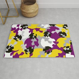 Purple and ochre camouflage Rug