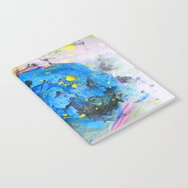 Rustic artistic abstract blue yellow pink watercolor brushstrokes Notebook
