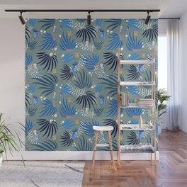 Birds pattern in blue Wall Mural