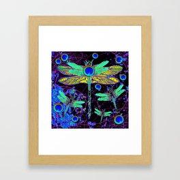 CELESTIAL DRAGONFLIES DREAMSCAPE BLACK DESIGN Framed Art Print