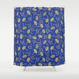 Ginkgo Biloba linocut pattern GLITTER GOLD DEEP BLUE Shower Curtain