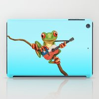 chile iPad Cases featuring Tree Frog Playing Acoustic Guitar with Flag of Chile by Jeff Bartels