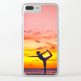 Yoga dancer's pose woman at sunset Clear iPhone Case