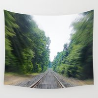 train Wall Tapestries featuring TRAIN TRACKS by 2sweet4words Designs