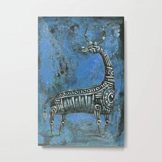 Antelope in Blue Metal Print