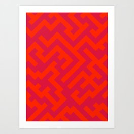 Scarlet Red and Crimson Red Diagonal Labyrinth Art Print