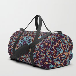 Brown and blue geometric Mandala Rich ornament Duffle Bag