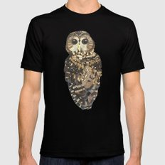 Northern Spotted Owl. LARGE Black Mens Fitted Tee