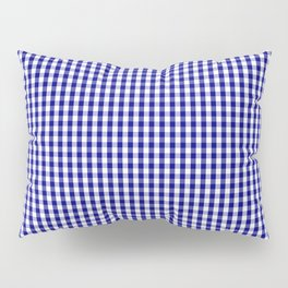 Small Navy Blue and White Gingham Check Plaid Pattern Pillow Sham
