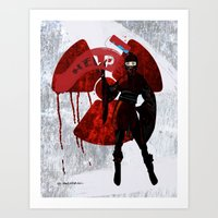 ninja Art Prints featuring Ninja by Elisabeth Acerbi