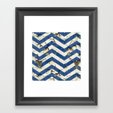 Peeling Chevrons Blue Framed Art Print