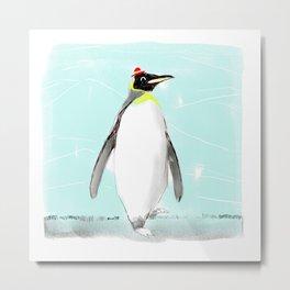 Penguin with hat Metal Print