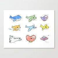 airplanes Canvas Prints featuring Cute Airplanes by Macy Wong