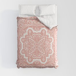 Marilla Detailed Tile Pattern Peach & White Comforters