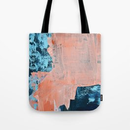 Delight [3]: a vibrant minimal abstract painting in blue and coral by Alyssa Hamilton Art Tote Bag