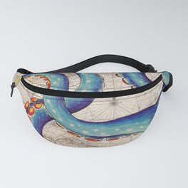 Octopus Tentacles Vintage Map Blue Fanny Pack