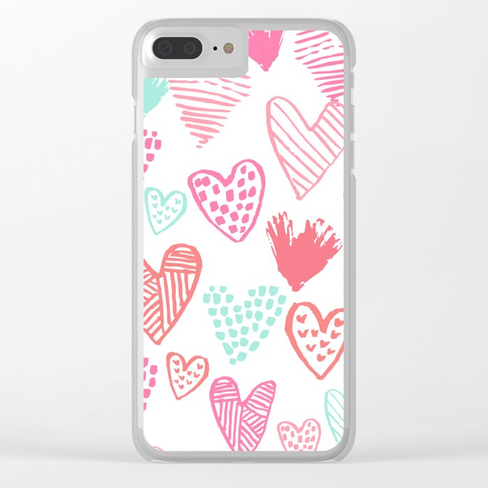 Hearts hand drawn heart pattern valentines day love gifts home decor hipster girls Clear iPhone Case