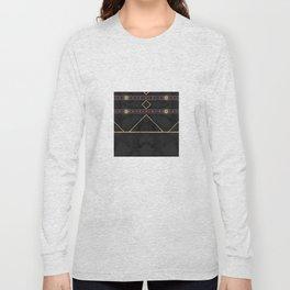 Golden Sun Mandala Ruby Flowr over BlackMarble Long Sleeve T-shirt