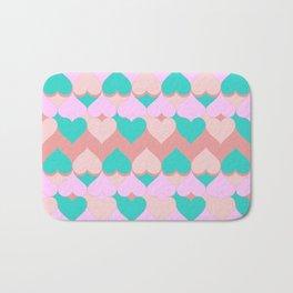 Multi Hearts Pink Teal Dogwood Bath Mat