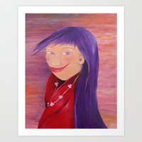 Girl. Purple hair. Portrait. Red. Violet. Purple. Art Print