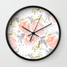 Sparkling Rosé flora Wall Clock