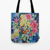 vogue Tote Bags featuring VOGUE by Beatrice Cloake