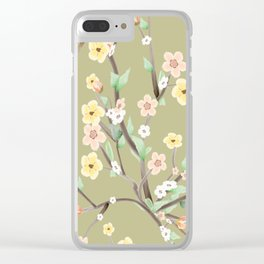 Green Spring Blossom Clear iPhone Case