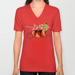Bicycle Tour de France Tandem for Three Unisex V-Neck