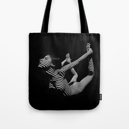 0018-DJA Nude Yoga Flexible Woman Zebra Striped Black and White Abstract Photograph Tote Bag