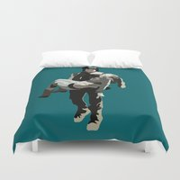beth hoeckel Duvet Covers featuring daryl and beth by Mia Eshkol