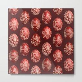 Realistic easter red dyed eggs pysanka Metal Print